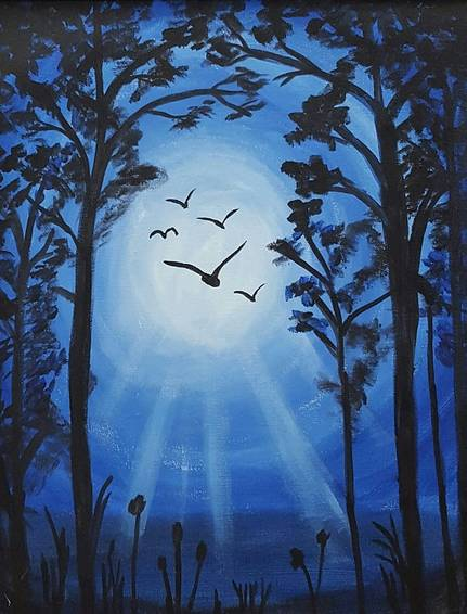 A Midnight Path paint nite project by Yaymaker