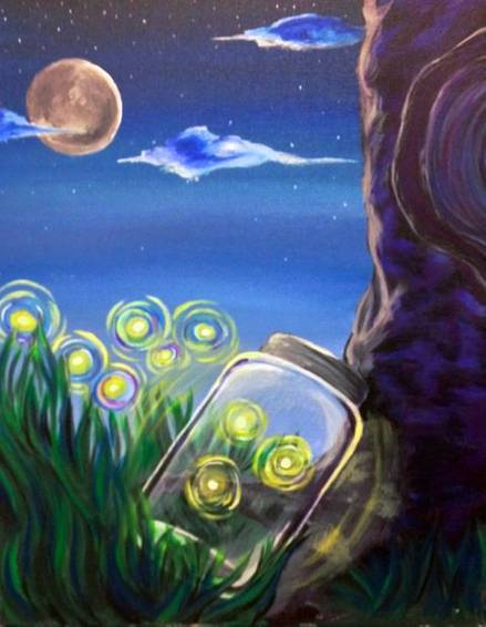 A Magic Summer Skies  Fireflies paint nite project by Yaymaker