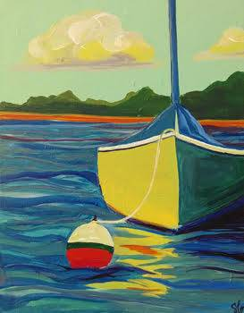 A Sailing at Dawn paint nite project by Yaymaker