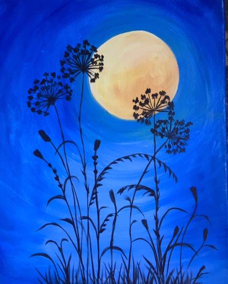 A Moonlit Flowers paint nite project by Yaymaker