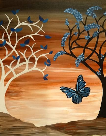 A Brown Sky Butterfly Oh My paint nite project by Yaymaker