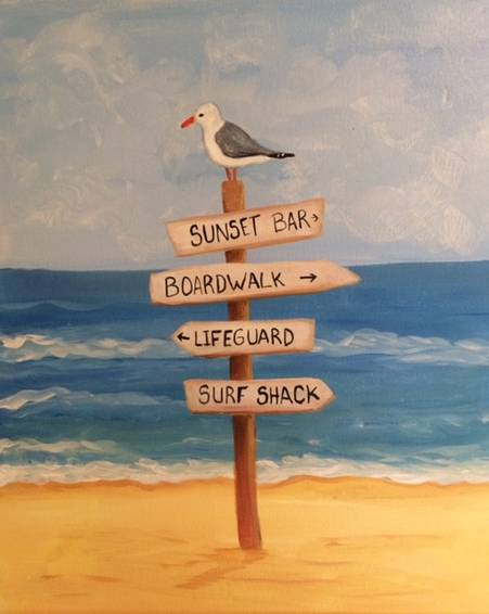 A Beach Sign paint nite project by Yaymaker