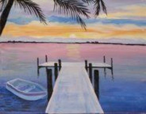A Dock at Sunset 1 paint nite project by Yaymaker