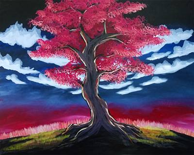 A Burning Tree paint nite project by Yaymaker