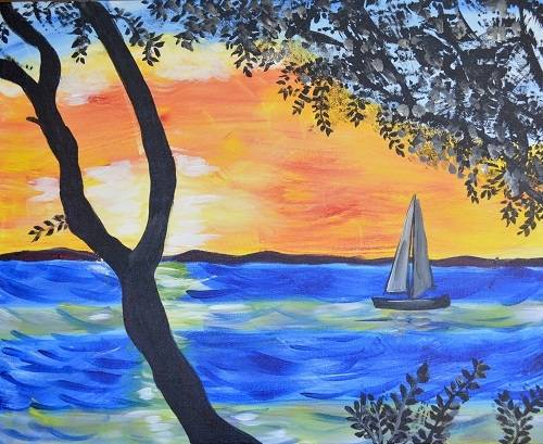 A Boat on the Bay paint nite project by Yaymaker