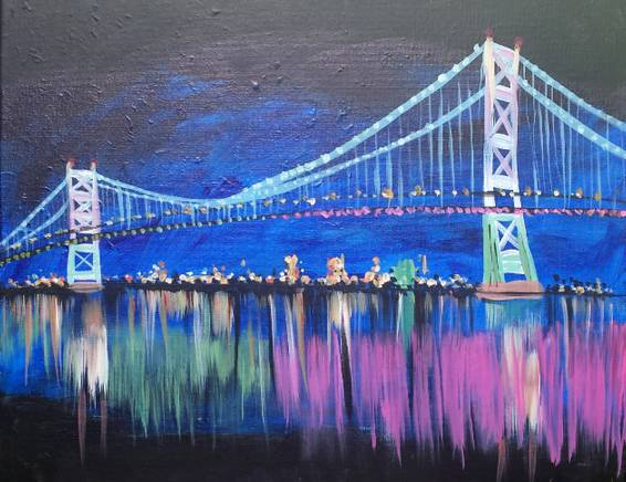 A Ben Franklin Bridge paint nite project by Yaymaker