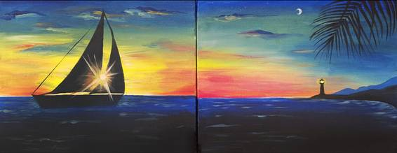 A Sails in the Sunset Partner Painting paint nite project by Yaymaker