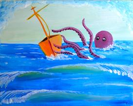 A Octopus vs Ship paint nite project by Yaymaker