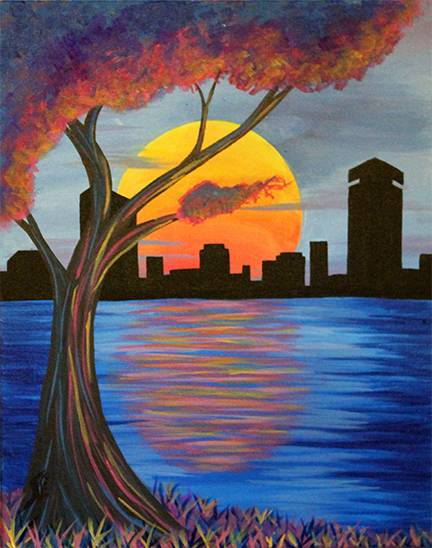 A Cotton Candy Boston paint nite project by Yaymaker