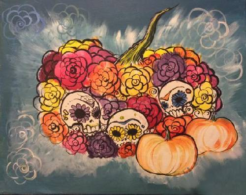 A Pumpkins N Calaveras Sugar Skulls paint nite project by Yaymaker