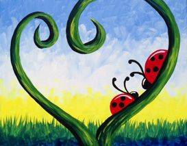 A Love Bugs paint nite project by Yaymaker
