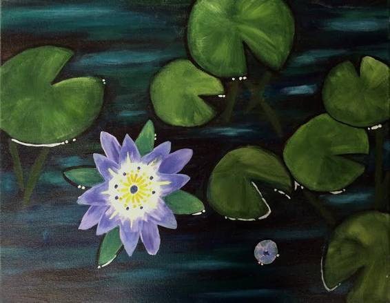 A Water Lilies Lotus Flower paint nite project by Yaymaker