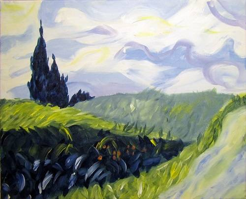 A Van Gogh Fields paint nite project by Yaymaker