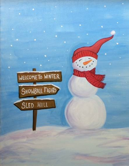 A Snowman and Sign paint nite project by Yaymaker