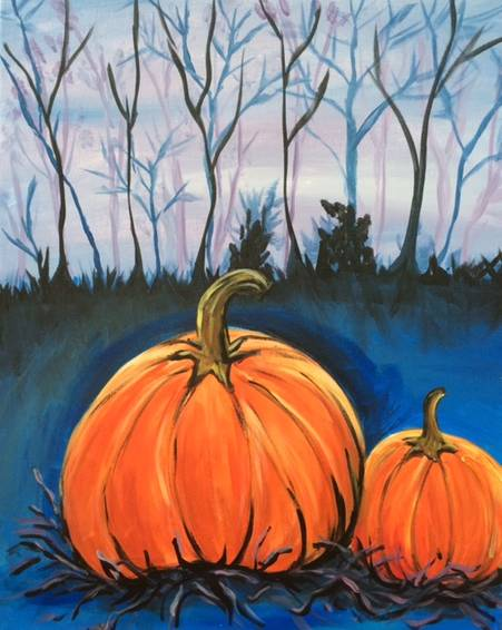 A Pumpkins at Night paint nite project by Yaymaker