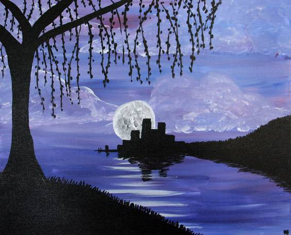 A Under the Willow Tree paint nite project by Yaymaker