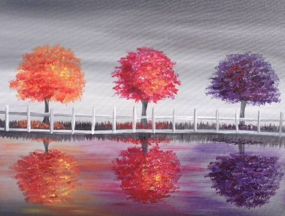 A Three Trees in Autumn paint nite project by Yaymaker