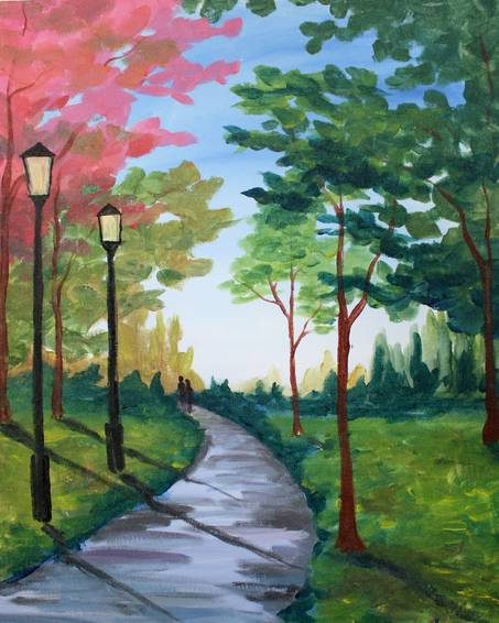 A A Walk in the Park paint nite project by Yaymaker