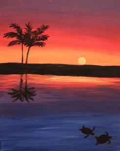 A Turtles at Sunset paint nite project by Yaymaker