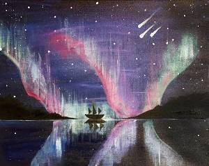 A Sail Into the Aurora paint nite project by Yaymaker