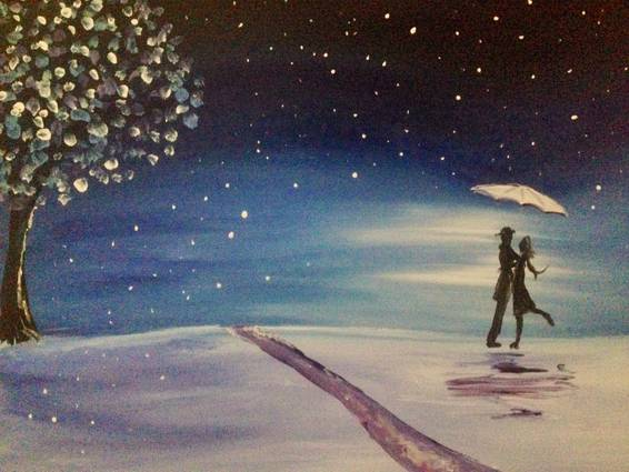 A Winter Kiss paint nite project by Yaymaker
