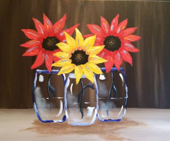 A Thankful Sunflowers paint nite project by Yaymaker