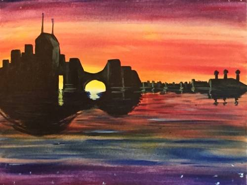 A Music City Skyline paint nite project by Yaymaker