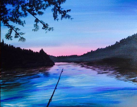 A Sunday Fishing paint nite project by Yaymaker