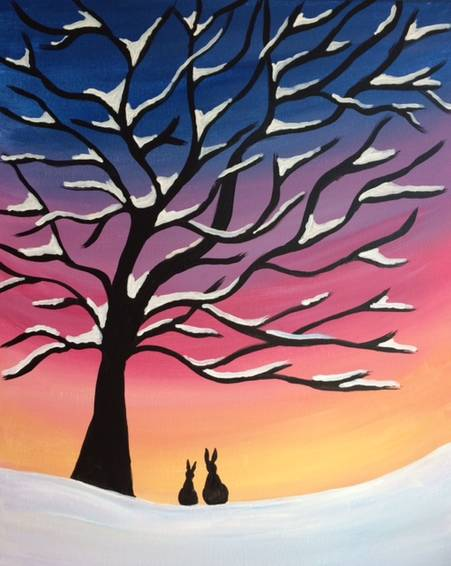 A Winter Snow Tree paint nite project by Yaymaker