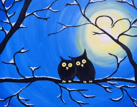 A Winter Owls paint nite project by Yaymaker