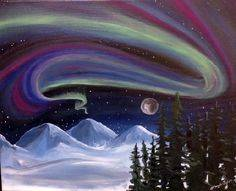 A Snowy Northern Lights paint nite project by Yaymaker