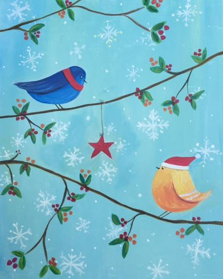 A Birds in Winter paint nite project by Yaymaker