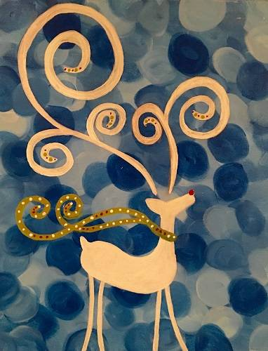 A Reindeer Blue Swirl paint nite project by Yaymaker