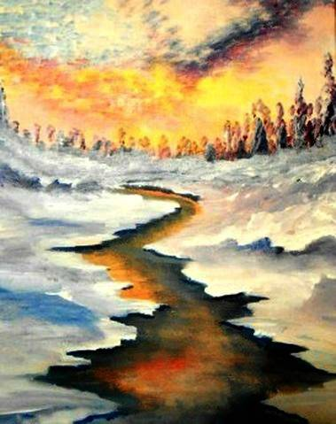A Impressionist Winter paint nite project by Yaymaker
