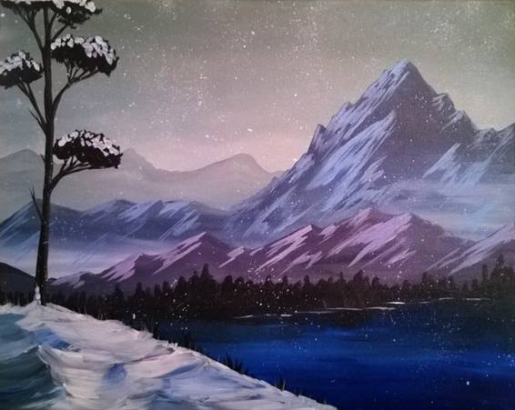 A Midnight Mountains paint nite project by Yaymaker