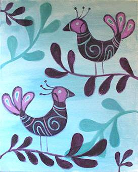 A Swirly Birds paint nite project by Yaymaker