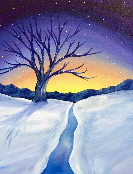 A Winter Sunset paint nite project by Yaymaker