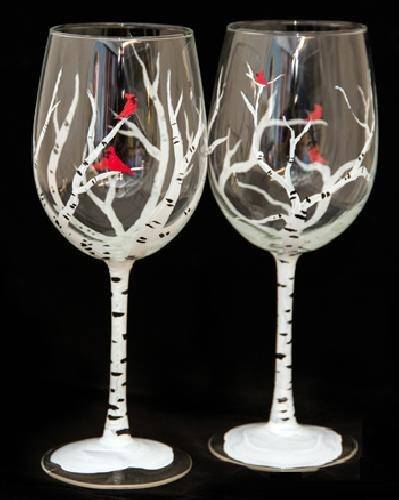 A Winter Birches Wine Glasses paint nite project by Yaymaker