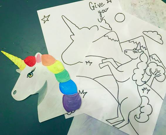 A Wooden Unicorn and Coloring Sheets experience project by Yaymaker