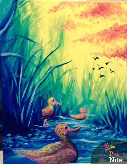 A Colorful Ducks paint nite project by Yaymaker