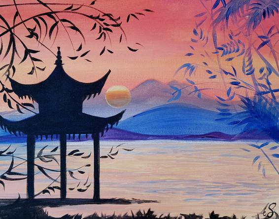 A Pagoda Sunset paint nite project by Yaymaker