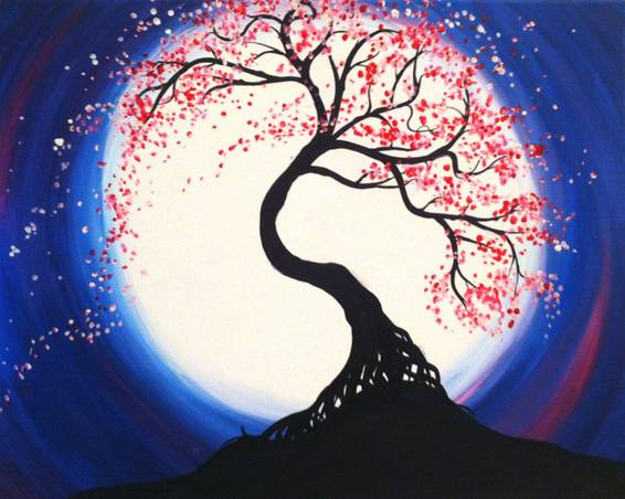 A Moonlit Tree of Life paint nite project by Yaymaker