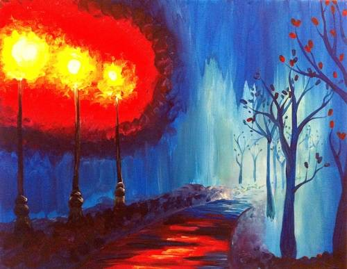 A Rainy Park View paint nite project by Yaymaker