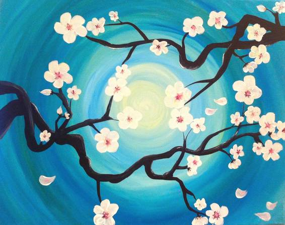 A Cherry Blossom Branches paint nite project by Yaymaker