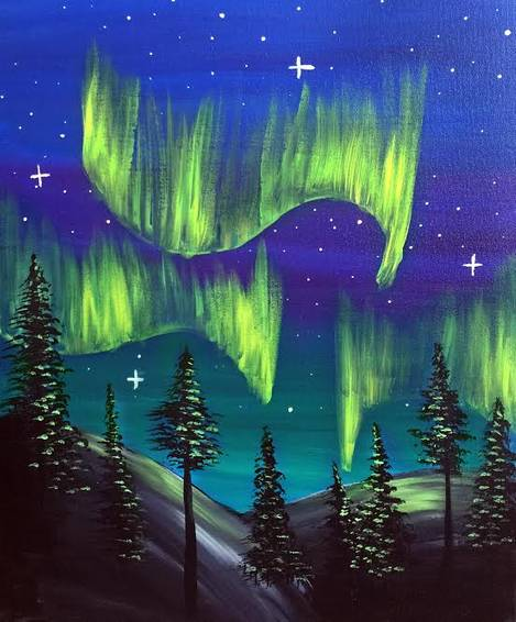 A Northern Lights paint nite project by Yaymaker
