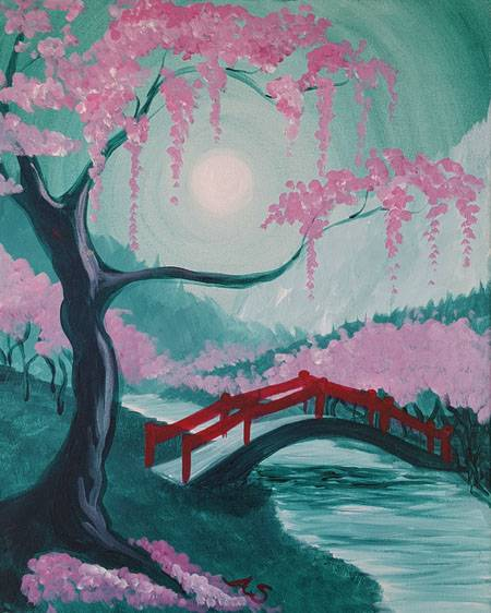 A Japanese Sakura Valley paint nite project by Yaymaker