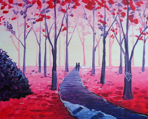 A A Valentine Stroll paint nite project by Yaymaker