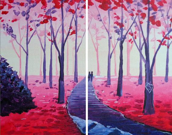 A A Valentine Stroll Partner Painting paint nite project by Yaymaker