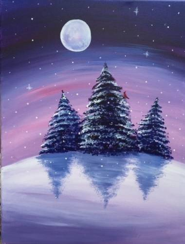 A A Winters Night paint nite project by Yaymaker