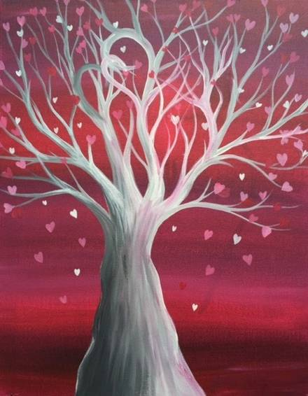 A Tree of Hearts paint nite project by Yaymaker